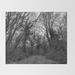 Monochromatic forest path Throw Blanket