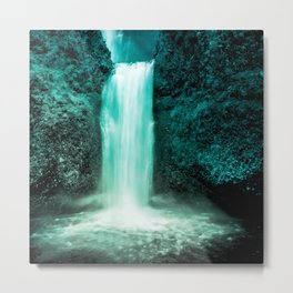 waterfall turquoise tinted aesthetic landscape art altered photography Metal Print