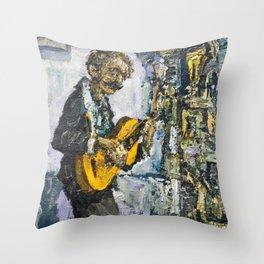 street musician palying on guitar Throw Pillow