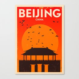 Beijing City Retro Poster Canvas Print