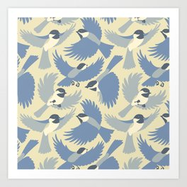 Chickadees  in Blue Art Print