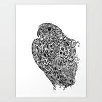 hawk Art Prints featuring Hawk by kayse wieneke