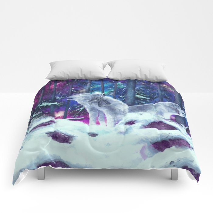 white wolf in the forest Comforters