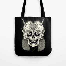 Grinning Skull with Horns Tote Bag