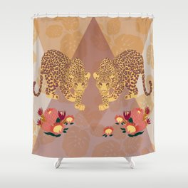 Two Leopards on Gold Geo Pink Floral Jungle Shower Curtain