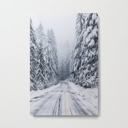 Snowy Oregon Forest Roads Metal Print