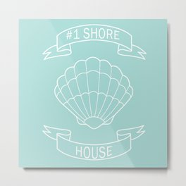 #1 Shore House on Teal Metal Print