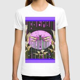 Purple Art Nouveau Calla Lilies Dragonfly Art T-shirt