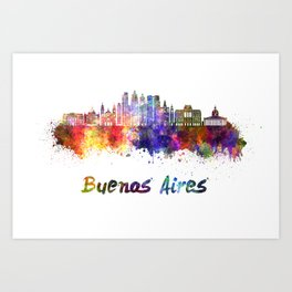 Buenos Aires V2 skyline in watercolor Art Print