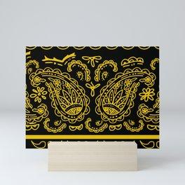 Black Gold Bandana Paisley Mini Art Print