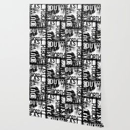 East South North West Black White Grunge Typography Wallpaper