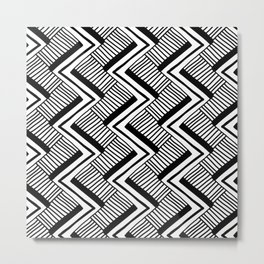 Zig-Zag Black & White Metal Print