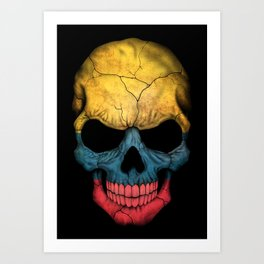Dark Skull with Flag of Colombia Art Print