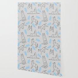 Siberian Husky Pattern (Light Gray) Wallpaper