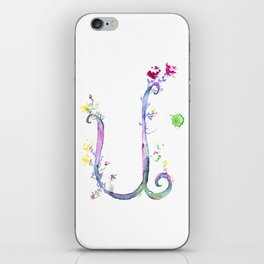 Letter U watercolor - Watercolor Monogram - Watercolor typography - Floral lettering iPhone Skin