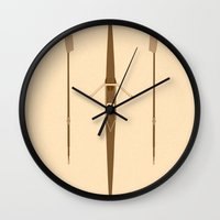 rowing Wall Clocks featuring rowing single scull by zenitt