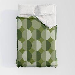 Retro circles grid green Duvet Cover