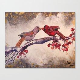 Kissing Cardinals Canvas Print