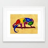 chameleon Framed Art Prints featuring Chameleon by Aleksandra Mikolajczak
