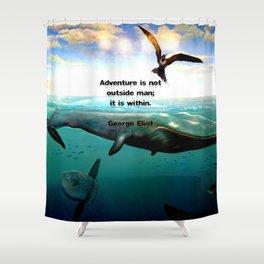 Adventure Wisdom Quotation With Underwater Scene Painting Shower Curtain