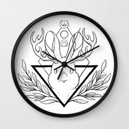 Lunar Rabbit / Jackalope // Black Wall Clock