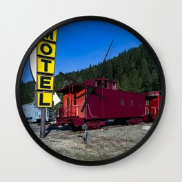 Train cars at Rail Road Park an unusual motel and resort complex in which guests may opt to stay and Wall Clock
