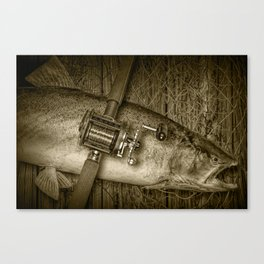"""Sepia Toned """"Catch of the Day"""" a Steelhead trout Fishing Still life Canvas Print"""