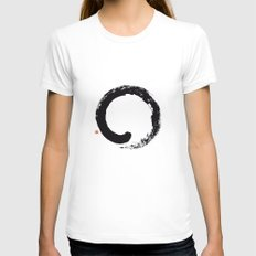 Enso / Japanese Zen Circle LARGE White Womens Fitted Tee