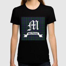 McPhail Tartan with Clan Name T-shirt