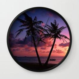Moody Twin Palm Trees Wall Clock