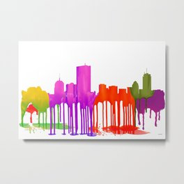 Boston Skyline - Puddles Metal Print
