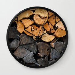 Fire Wood Wall Clock