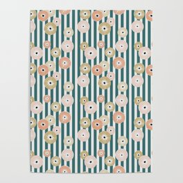 Delicate flowers on stripes Poster