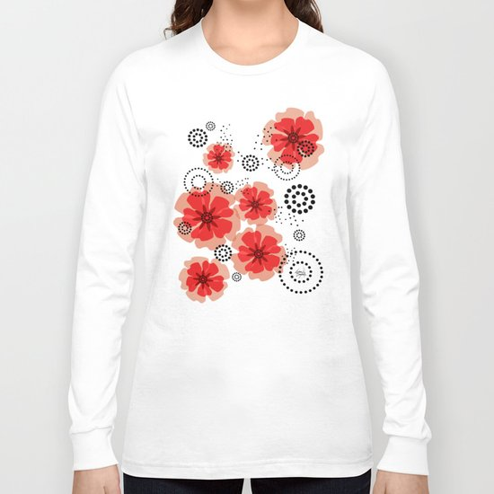 PEPPER POPPIES | red Long Sleeve T-shirt