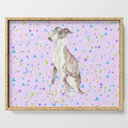 Italian Greyhound Watercolor Pet Portrait Serving Tray