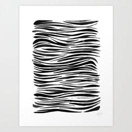 Pandanus Bark - Black Art Print
