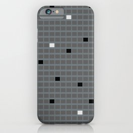 Grid with Dark Gray, Black and White iPhone Case