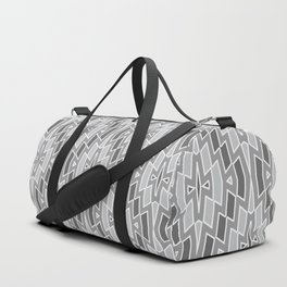 Tribal Diamond Pattern in Grays and White Duffle Bag