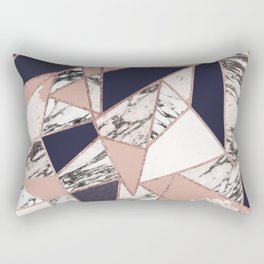 Geometric Navy Blue Peach Marble Rose Gold Triangle Rectangular Pillow
