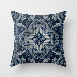 Indigo blue dirty denim textured boho pattern Throw Pillow
