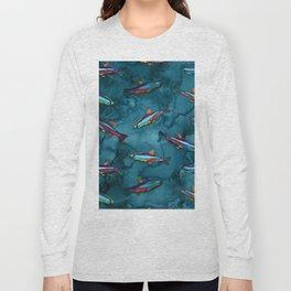NEON TETRA FISH PATTERN Long Sleeve T-shirt