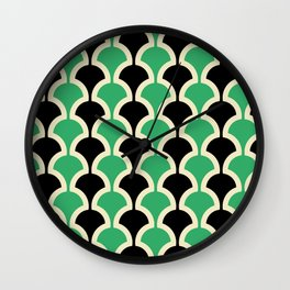Classic Fan or Scallop Pattern 447 Black and Green Wall Clock