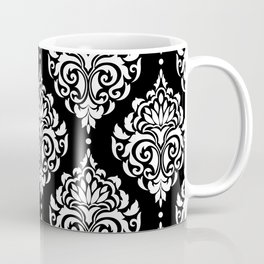 Black Monochrome Damask Pattern Coffee Mug