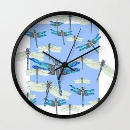 BLUE & GOSSAMER WHITE  DRAGONFLY SEASON ART Wall Clock