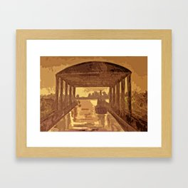 Boat shed in the rain Framed Art Print