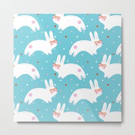 Happy Bunnies with Glasses Metal Print