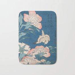 Katsushika Hokusai - Peonies and Canary, 1834 Bath Mat