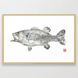 Largemouth Bass on Cotton Large Framed Art Print