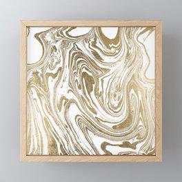 Stylish white faux gold foil elegant marble Framed Mini Art Print