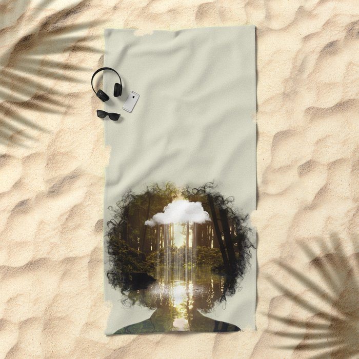 Brain Rain Beach Towel